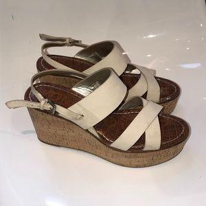 Sam Edelman leather cork ankle strap wedge. 8